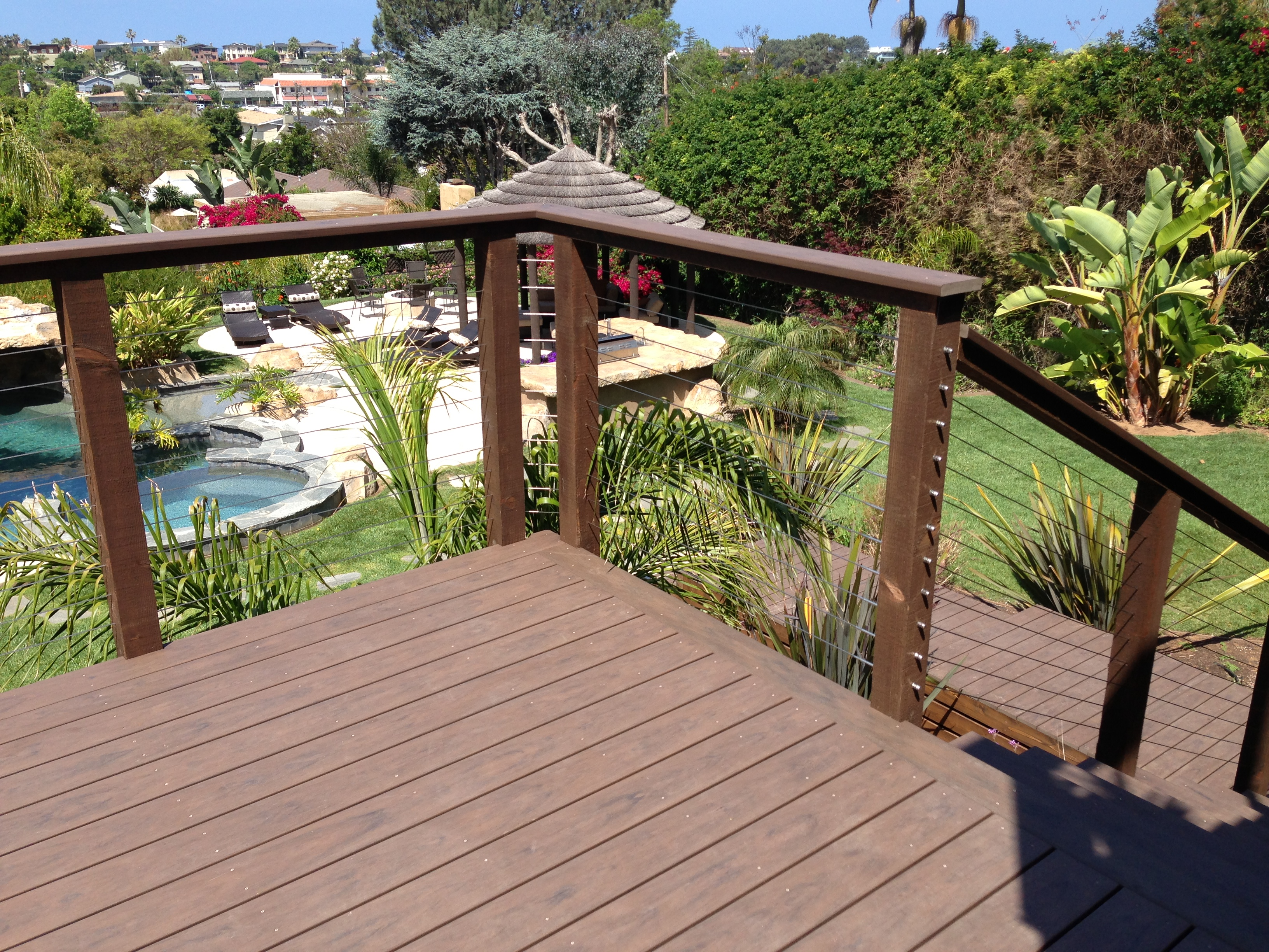 Wooden cable railing posts san diego railings