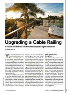 San Diego cable railings, deck builder cable railings, cable railings for deck builders, cable railings deck builder magazine
